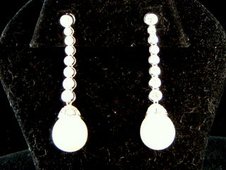 Pearl & Diamond Dangle Earrings